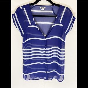 ❤️ 3/20 Old Navy Blue and White Striped Sheer Top